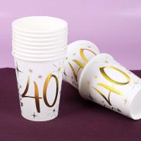 10 weiße Pappbecher mit Gold-Metallic zum 40. Geburtstag