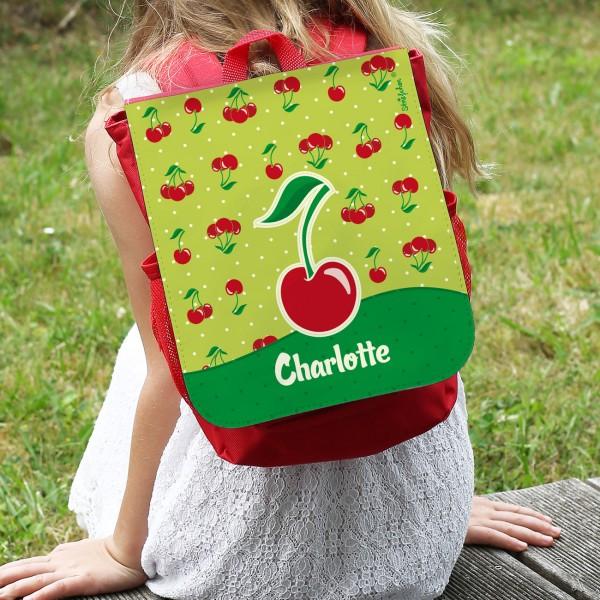 roter Kinderrucksack mit Kirschen und Ihrem Namen