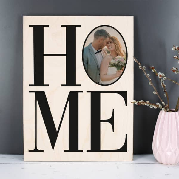 HOME Schriftzug mit Foto auf Holz gedruckt