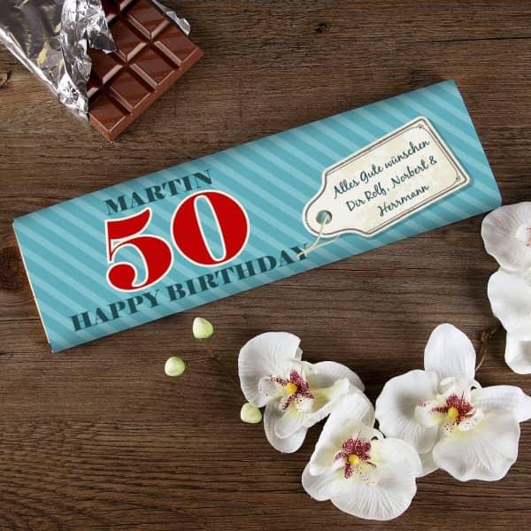 Große Schokolade für das Geburtstagskind mit Text, Alter und Name