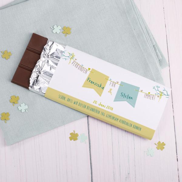 Verbunden für immer! Hochzeits Schokolade mit Namen, Datum Wunschtext