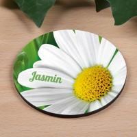 Untersetzer mit Name auf Blütenblatt