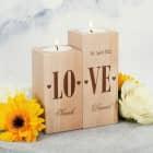 LOVE Teelichthalter-Set mit Herzen, Namen und Datum graviert