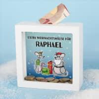 Extra Weihnachtsmäuse - Spardose für Geldgeschenke mit Ihrem Wunschnamen