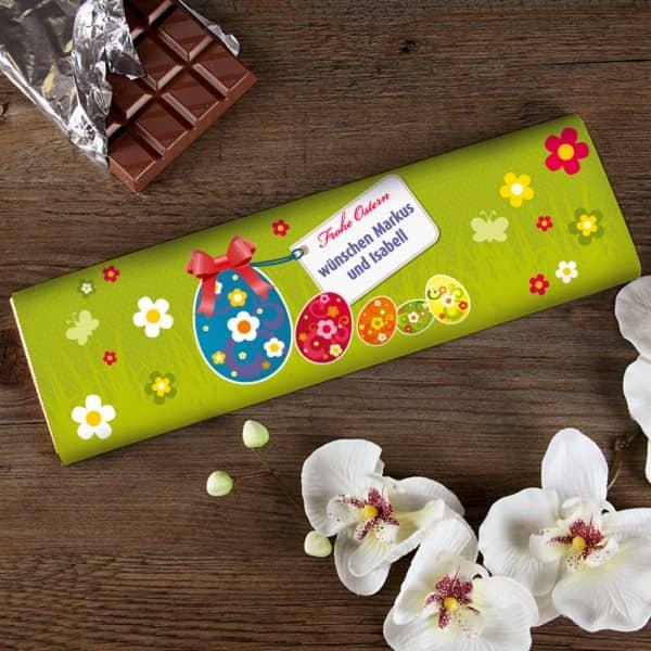 Schokolade zu Ostern mit kurzem Text