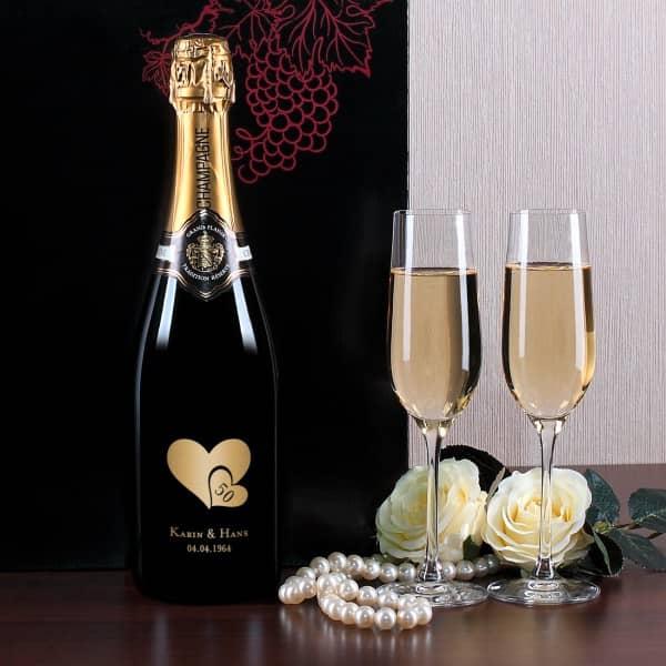 Personalisiertes Champagnerset mit 2 Sektgläsern, Goldene Hochzeit