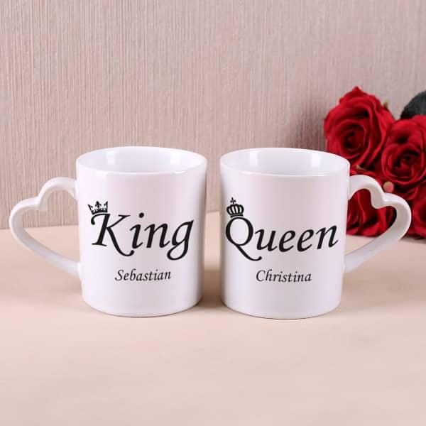 """Paartassen """"King & Queen"""" mit Ihren Namen"""