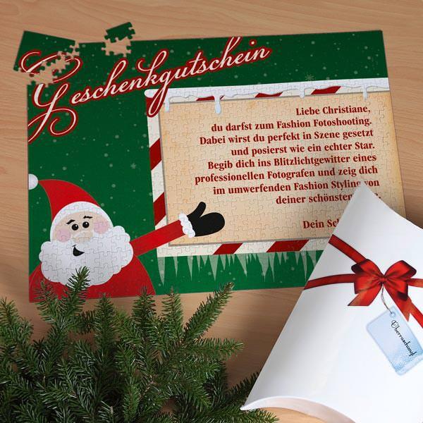 XXL Puzzlegutschein mit Weihnachtsmann