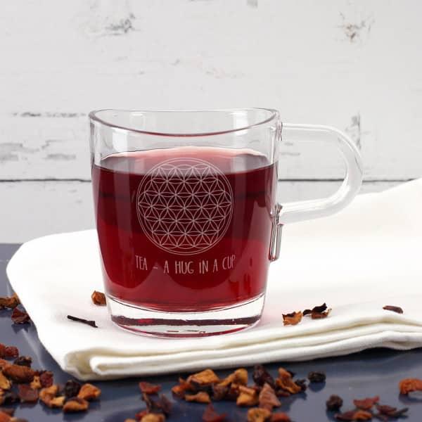 Teeglas - Lebensblume - mit Wunschtext graviert