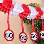 Papiergirlande Verkehrsschild 60