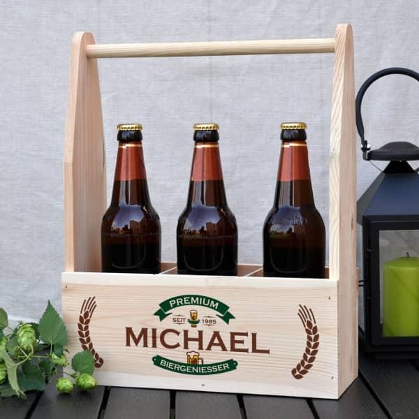 Holzkiste - Bierträger aus Holz mit persönlichem Aufdruck, Name und Geburtsjahr
