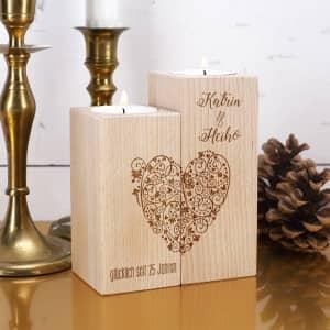 Teelichthalter zum Valentinstag mit Gravur