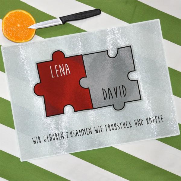 Glasbrett für Paare mit Puzzle-Motiv, Namen und Wunschtext