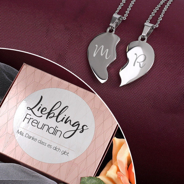 Individuellschmuck - Gravierte Freundschaftsketten Herz mit Geschenkbox Lieblings Motiv - Onlineshop Geschenke online.de