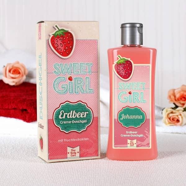 Erdbeer Duschgel für Mädchen mit Namensaufdruck