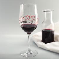 Bedrucktes Herzchen Weinglas zum Valentinstag