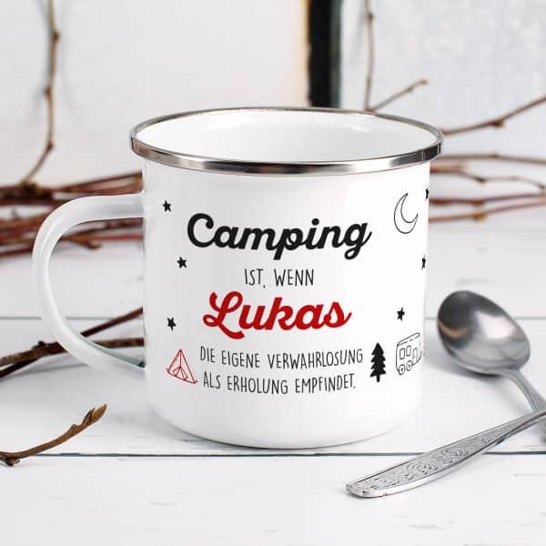 Individuellküchenzubehör - Camping Tasse aus Emaille mit Namensaufdruck - Onlineshop Geschenke online.de