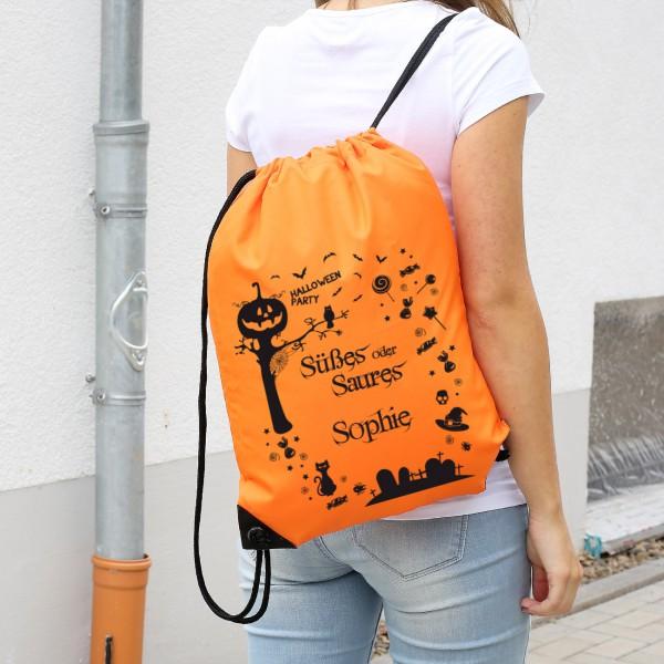 orangener Rucksack zu Halloween mit Wunschname