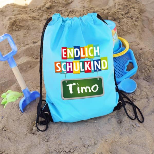 Individuellbabykind - Blauer Sportbeutel ''Endlich Schulkind'' mit Ihrem Wunschnamen - Onlineshop Geschenke online.de