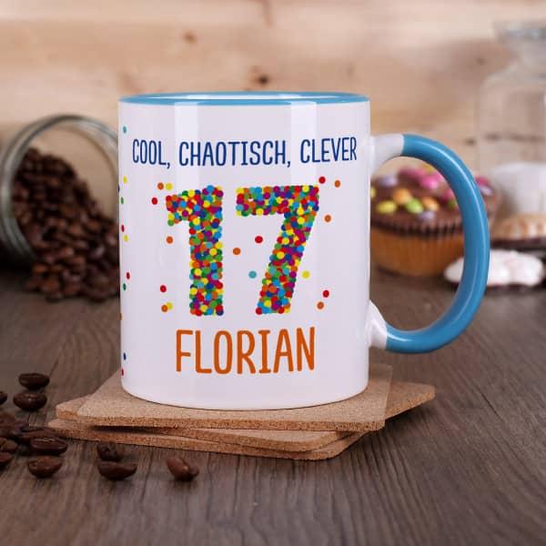Tasse zum 17. Geburtstag mit bunter Konfetti Zahl
