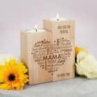 Muttertagsgeschenk - Teelichthalter aus Holz mit graviertem Herz & Wunschtext