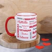 Familientasse mit drei Namen in verschiedenen Schriftarten - rot