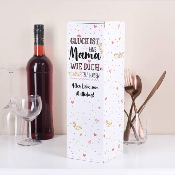 Flaschenverpackung zum Muttertag mit Wunschtext