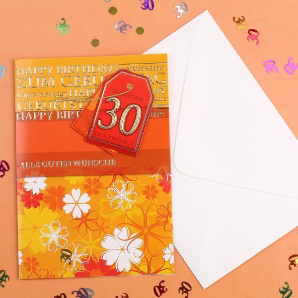 Glückwunschkarte zum 30. Geburtstag
