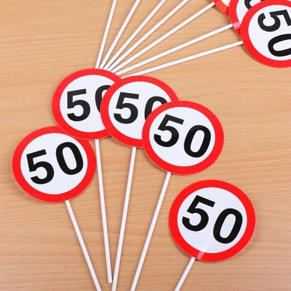 Tischdekoration zum 50. Geburtstag Mini Schilder