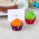 2 Tischkartenhalter in Cupcake - Form Grün/Orange
