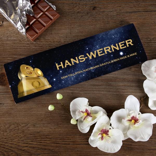 300g Schokolade zum 60. Geburtstag mit Text und Name