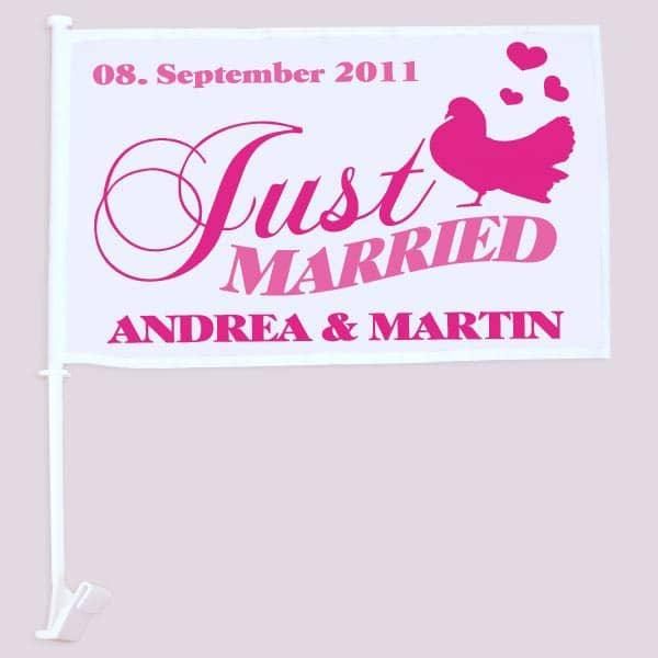 bedruckte Hochzeitsfahne für das Hochzeits Auto