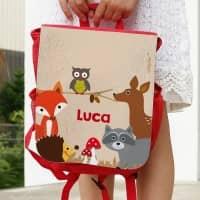 Kinder-Rucksack mit Tieren des Waldes und Name
