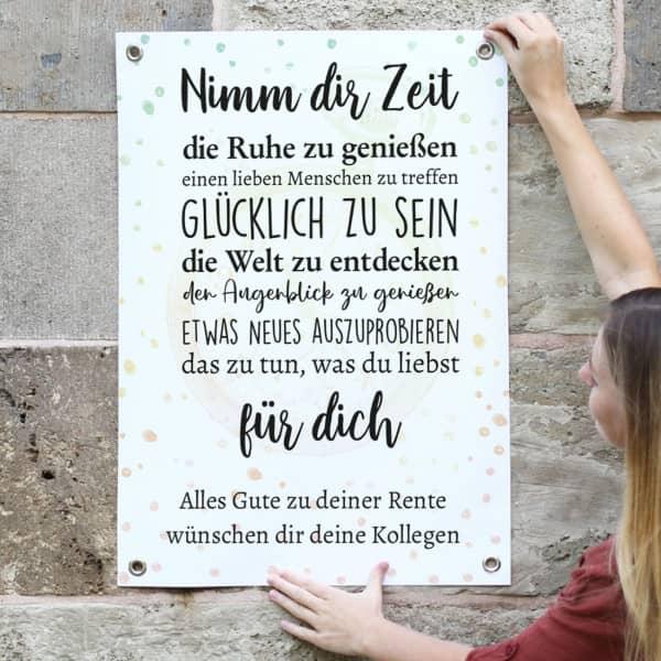 Kleines Banner zum Ruhestand mit Wunschtext