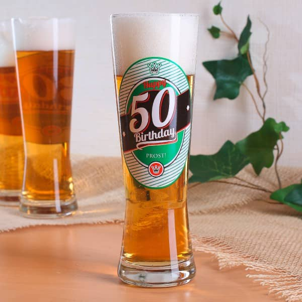 Pilsglas mit Logo zum 50. Geburtstag