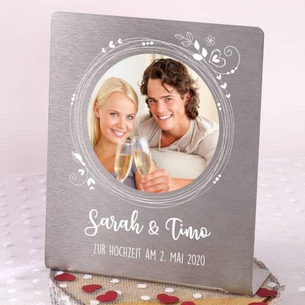 Foto-Aufsteller zur Hochzeit mit Ihrem Bild und Wunschtext 14x17 cm