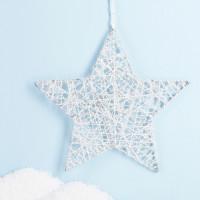 Weißer Metall-Stern mit Glitter zum Aufhängen
