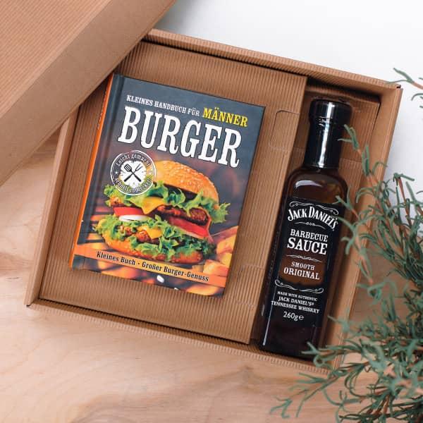 Ausgefallengrillen - Burger Minibuch Set mit BBQ Sauce - Onlineshop Geschenke online.de