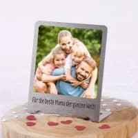 Kleiner Edelstahl Foto-Aufsteller mit Ihrem Bild und Wunschtext bedruckt