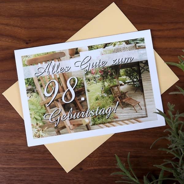 """Karte """" Alles Gute zum 98. Geburtstag!"""