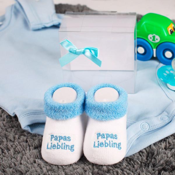 Babys erste Söckchen Papas Liebling in blau