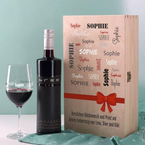 Rotwein-Set mit bedrucktem Glas in edler Holzverpackung