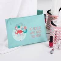 Kosmetiktasche mit Flamingo und Wunschtext