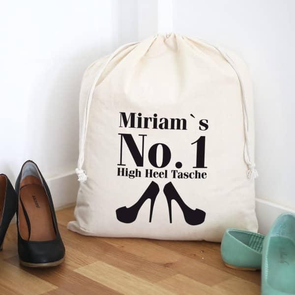 Baumwollsack für High Heels mit Wunschname