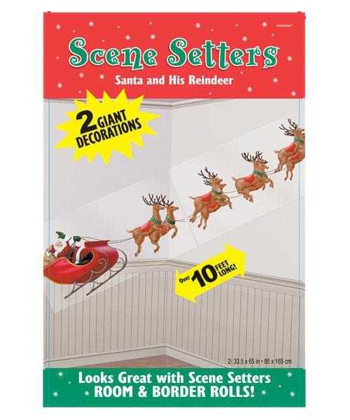 Dekofolie Weihnachtsmann mit Rentieren