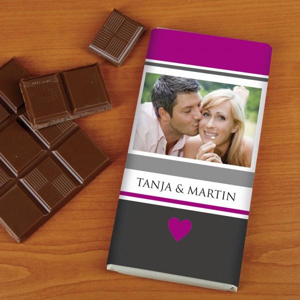 100g Schokolade mit Foto und Namen zum Valentinstag