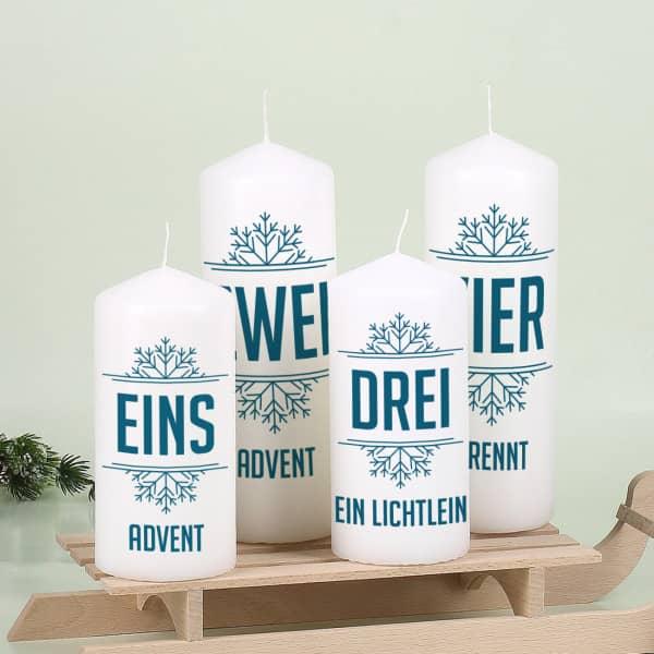 4er Set Adventskerzen mit Wunschtexten