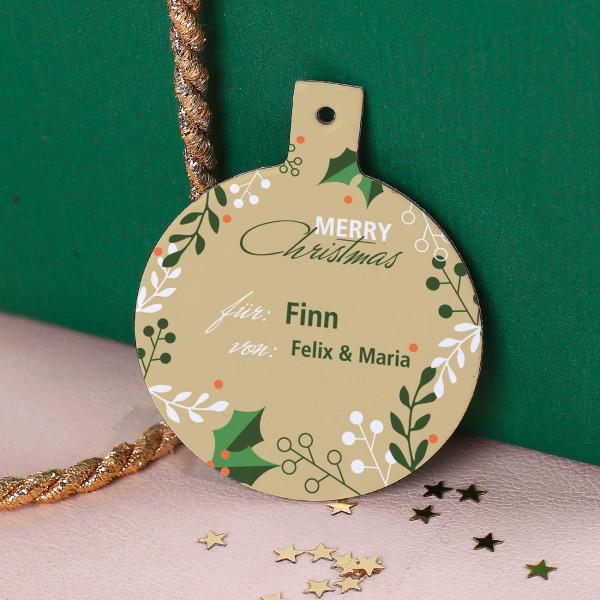 Personalisiertes Namensschild Merry Christmas mit Wunschnamen