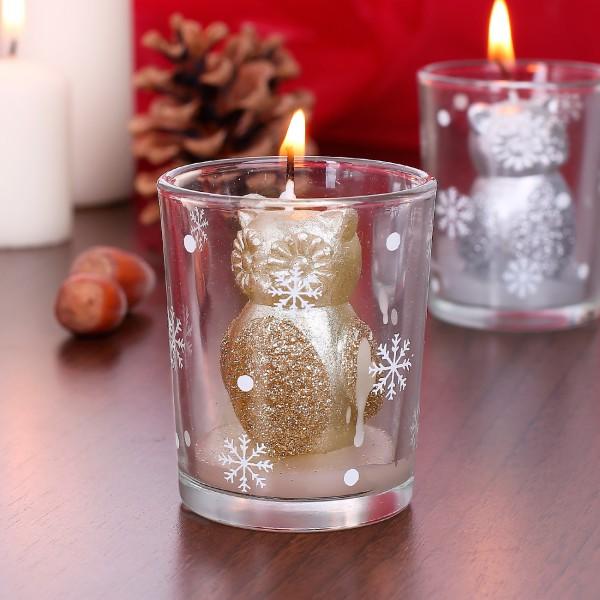 Kerze im Glas Weihnachtseule in Gold