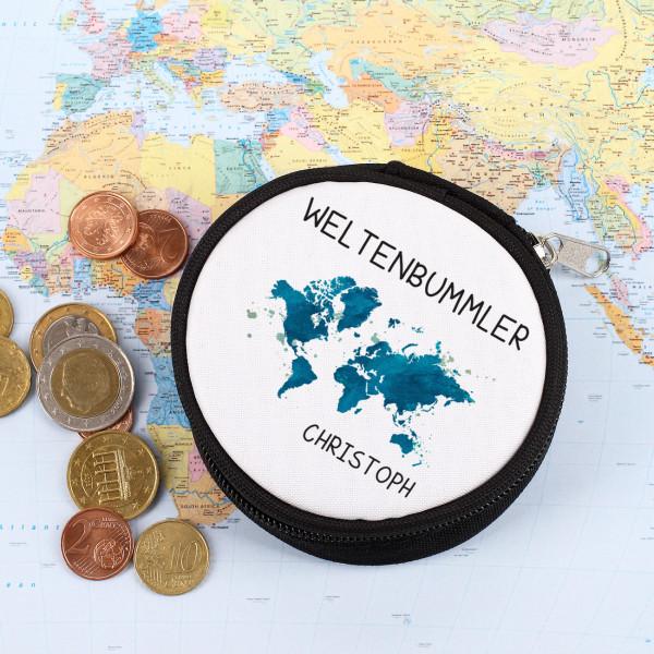 Kleine runde Geldbörse mit Weltenbummlermotiv